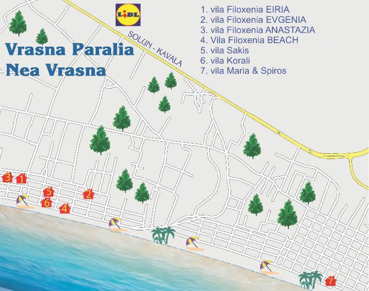 mapa grcke nea vrasna Korali apartmani Vrasna Paralija leto 2016 Vrasna u pripremi  mapa grcke nea vrasna