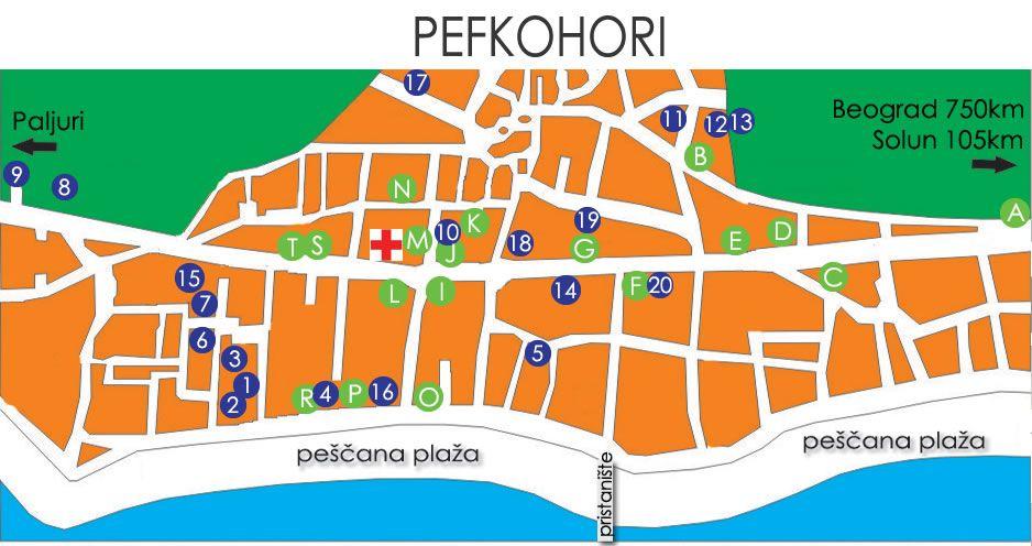 pefkohori mapa Pefkohori apartmani   Leto Grčka 2018, letovanje 2018, Leto 2018  pefkohori mapa